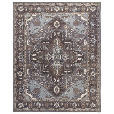 Heriz Hand-Tufted Pearl/Steel Area Rug Rug Size: Round 12