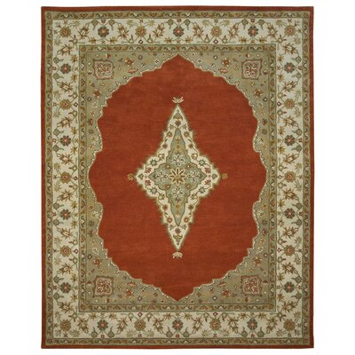 Bidjar Hand-Tufted Terracotta/Sand Area Rug Rug Size: Round 6