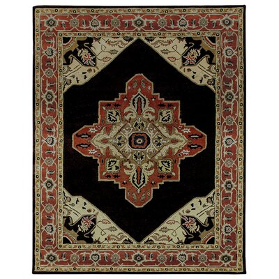 Heriz Hand-Tufted Chocolate Area Rug Rug Size: 86 x 116