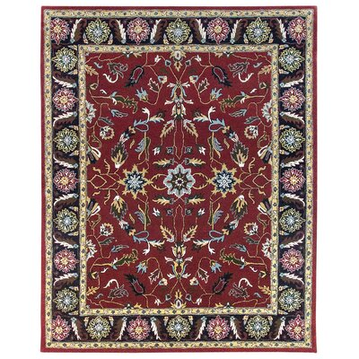 Agra Hand-Tufted Burgundy/Blue Area Rug Rug Size: 96 x 136