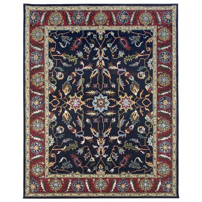 Agra Hand-Tufted Blue/Burgundy Area Rug Rug Size: 36 x 56