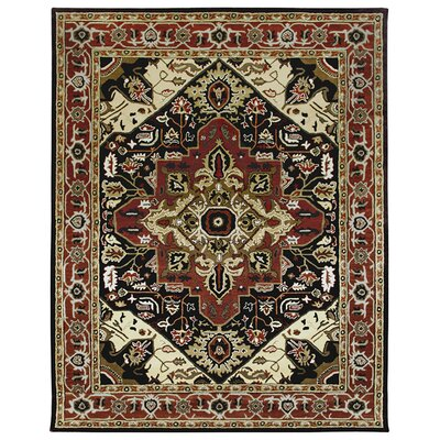 Heriz Hand-Tufted Chocolate Area Rug Rug Size: 96 x 136