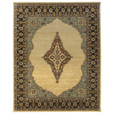 Bidjar Hand-Tufted Cream/Midnight Area Rug Rug Size: Square 8