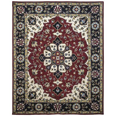 Mogul Hand-Tufted Burgundy/Blue Area Rug Rug Size: 36 x 56