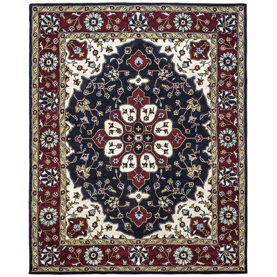Mogul Hand-Tufted Blue/Red Area Rug Rug Size: 36 x 56