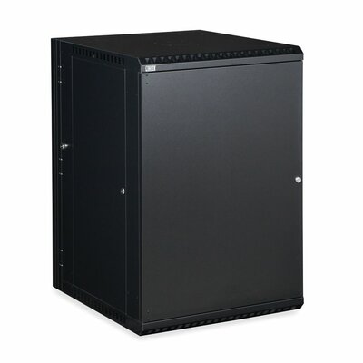 Linier Solid Door Swing-Out Wall Mount Cabinet Size: 18U