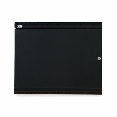 Linier Solid Door Fixed Wall Mount Cabinet Size: 9U