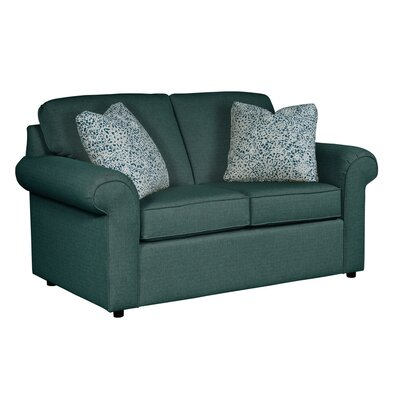 Bulfinch Loveseat Body Fabric: Grande Ocean, Pillow Fabric: Feathers Linen