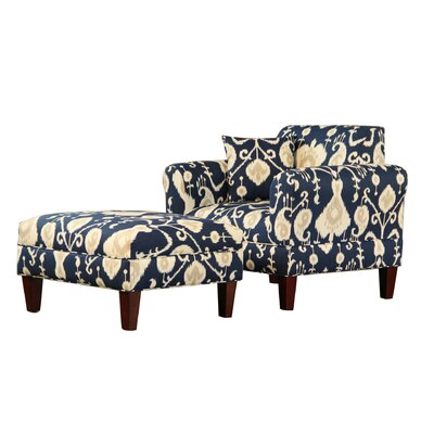 Briley Armchair and Ottoman Upholstery: Java Navy