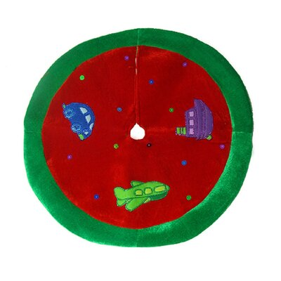 Cute Red Car Plane and Boat Mini Christmas Tree Skirt