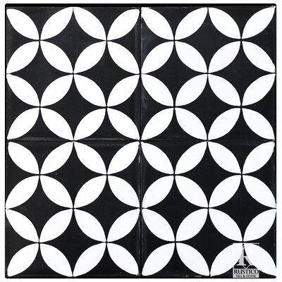 8 x 8 Circulos Cement Tile in Matte Black and White (Set of 4)