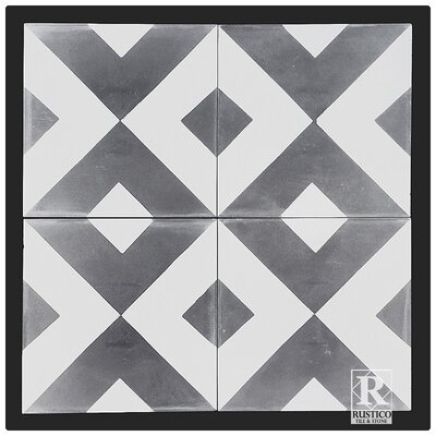 8 x 8 Cement Patterned Tile in Gray/White (Set of 4)