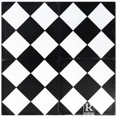 8 x 8 Checker Cement Decorative Concrete Tile (Set of 4)