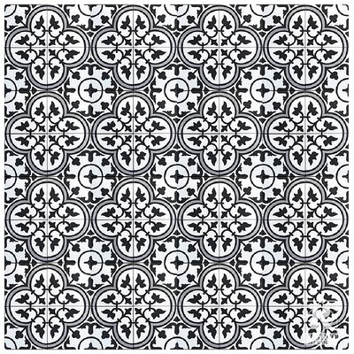 8 x 8 Cement Patterned Tile in Gray/Black (Set of 4)