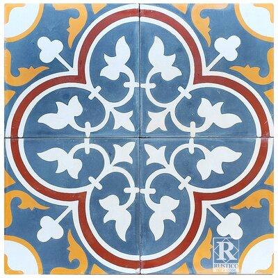 8 x 8 Roseton Cement Decorative Concrete Tile (Set of 4)