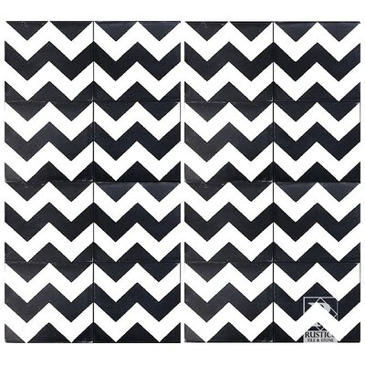 Chevron 8 x 8 Cement Field Tile in Black/White (Set of 4)