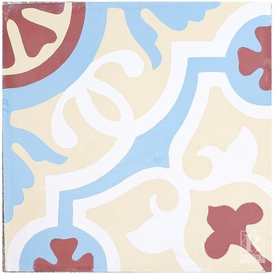 Amalia 8 x 8 Cement Field/Patterned Tile in Yellow/Blue (Set of 4)