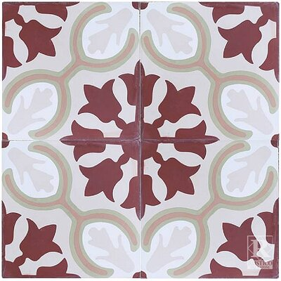Avallon 7.87 x 7.87 Cement Field Tile in Maroon/Mauve (Set of 4)