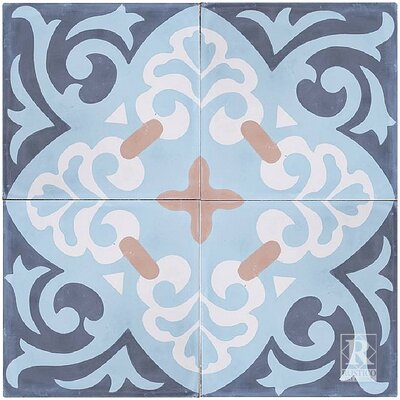Espanola 8 x 8 Cement Field/Patterned Tile in Blue (Set of 4)