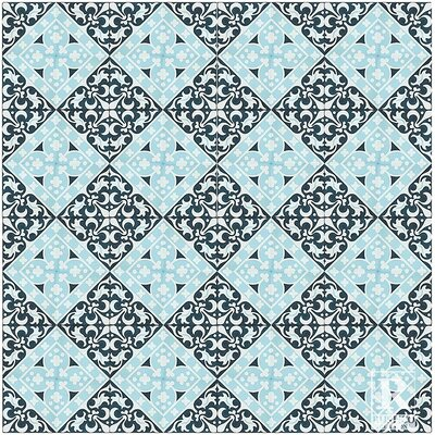 Victorian Encaustic 7.87 x 7.87 Cement Field/Patterned Tile in Black/Blue (Set of 4)