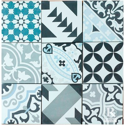 Patchwork Encaustic 7.87 x 7.87 Cement Field/Patterned Tile in Blue/Gray (Set of 4)