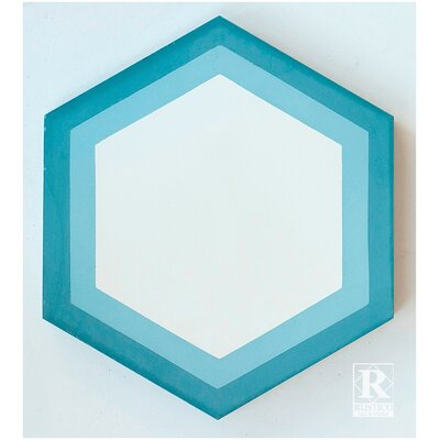 Hexagon Geometric Encaustic 8 x 8 Concrete Mosaic Tile in Blue/White (Set of 4)