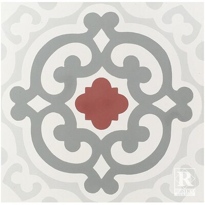 Geneva Cement 8 x 8 Floor Tile in Gray/Red (Set of 4)