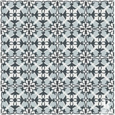 MeaLu 8 x 8 Cement Patterned Tile in Black/Gray/White (Set of 4)