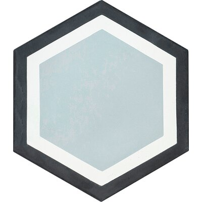 Hexagon Geometric Encaustic 8 x 8 Cement Mosaic Tile in Black/Gray (Set of 4)