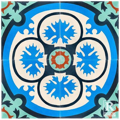 Philadelphia Victorian Encaustic 8 x 8 Cement Field Tile in Turquoise/Blue/White (Set of 4)