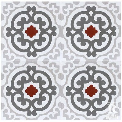Encaustic 8 x 8 Cement Field Field/Patterned Tile in Red/Gray (Set of 4)