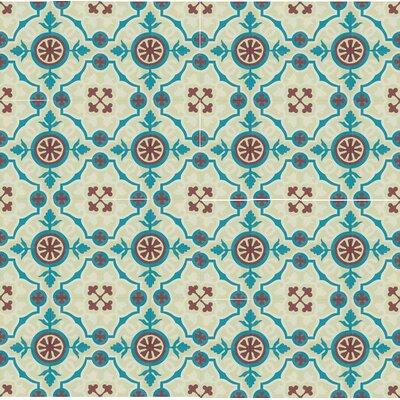 8 x 8 Amalia Cement Hand-Painted Tile (Set of 4)