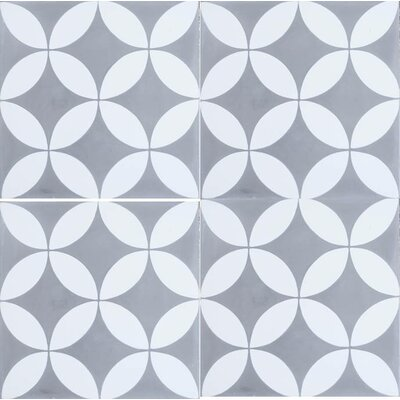 8 x 8 Cement Field Tile in Gray/White (Set of 4)