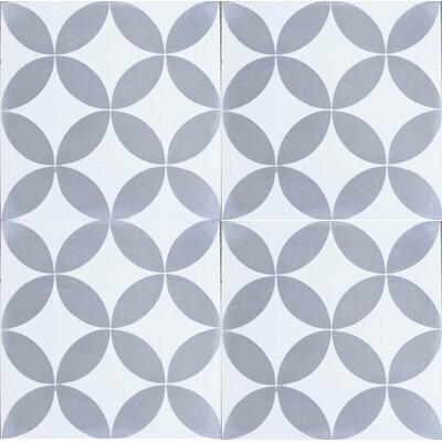 8 x 8 Circulos Cement Tile in Matte Gray/White (Set of 4)