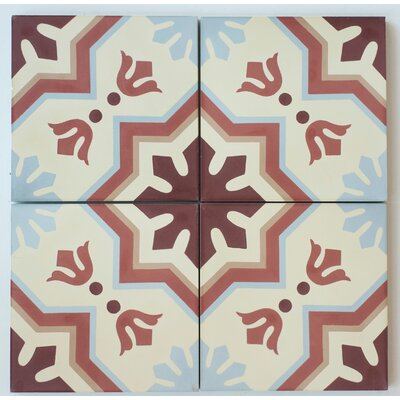 MeaLu 8 x 8 Cement Field/Patterned Tile in Terracotta/Beige (Set of 4)