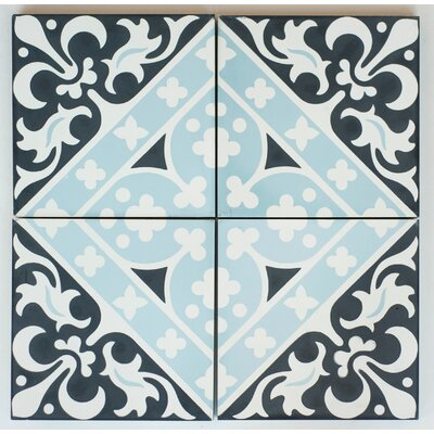 Victorian Encaustic 8 x 8 Cement Field/Patterned Tile in Black/Blue (Set of 4)