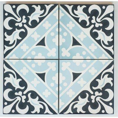 Victorian Encaustic 8 x 8 Cement Field/Patterned Tile in Black/Blue (Set of 4)