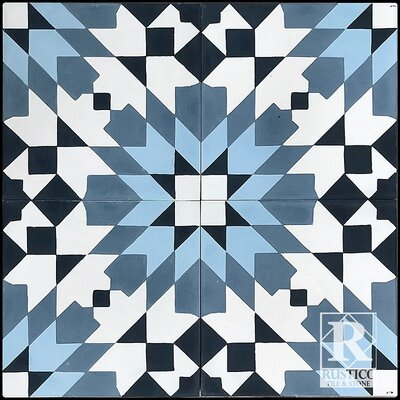 Casablanca 7.87 x 7.87 Cement Field/Patterned Floor Tile in Blue (Set of 4)