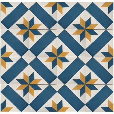 Estrella Star 8 x 8 Cement Field Tile in Blue/White (Set of 4)