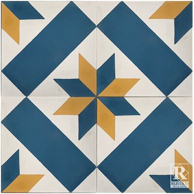 Estrella Star 7.87 x 7.87 Cement Field Tile in Blue/White (Set of 4)