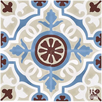 Amalia Concrete 8 x 8 Cement Field Tile in Beige/Blue (Set of 4)
