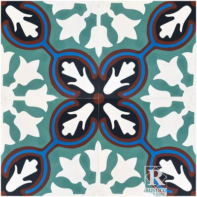 Avallon Encaustic 8 x 8 Cement Field Tile in Turquoise/White (Set of 4)