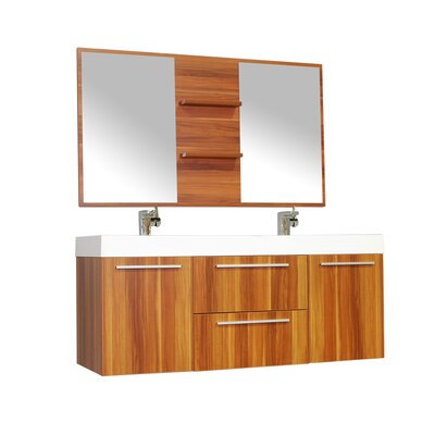 Waldwick 54 Double Wall Mount Modern Bathroom Vanity Set with Mirror Base Finish: Cherry