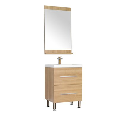 Waldwick 24 Single Modern Bathroom Vanity Set with Mirror Base Finish: Light Oak