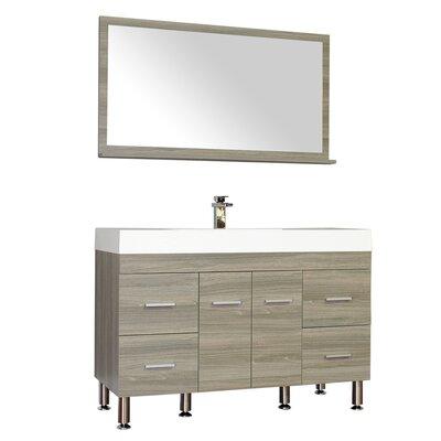 Waldwick 47 Single Modern Bathroom Vanity Set with Mirror Base Finish: Gray