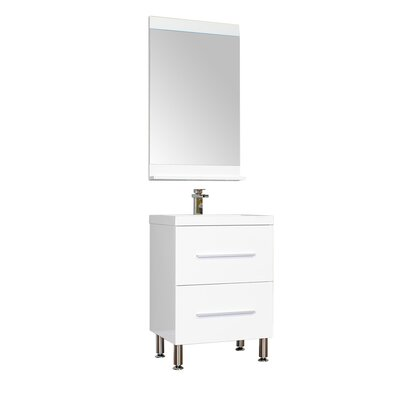 Waldwick 24 Single Modern Bathroom Vanity Set with Mirror Base Finish: White