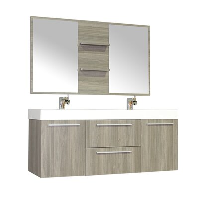 Waldwick 54 Double Wall Mount Modern Bathroom Vanity Set with Mirror Base Finish: Gray