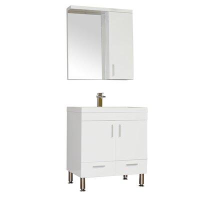 Waldwick 30 Single Modern Bathroom Vanity Set with Mirror Base Finish: White