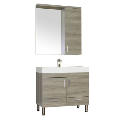 Waldwick Single Modern Bathroom Vanity Set with Mirror Base Finish: Gray