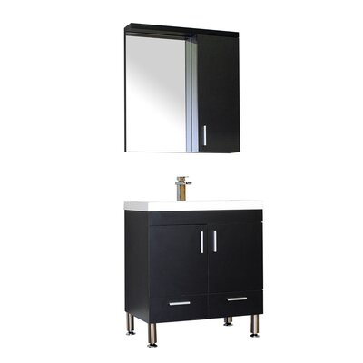 Waldwick 30 Single Modern Bathroom Vanity Set with Mirror Base Finish: Black